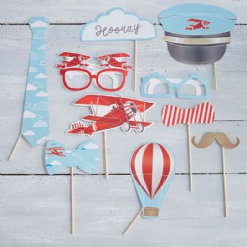 Vintage Red Plane Photo Props - pack of 10